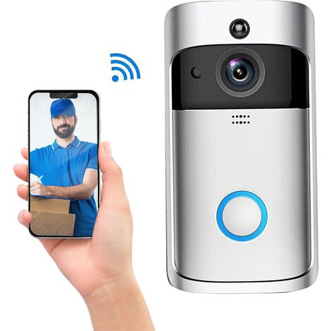 M3S wireless visual intelligent doorbell, 720p, remote video monitoring, PIR detection, night vision function, two-way intercom,Silver,No Battery