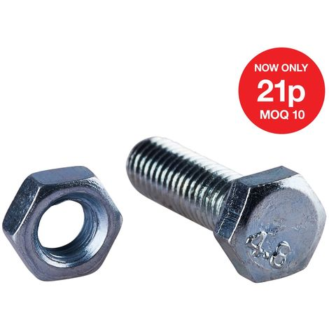 M5 X 15mm Hex Bolt (12PC) WITH M5 NUT (12PC) (4.8)