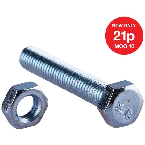 M5 X 30mm Hex Bolt (10PC) WITH M5 NUT (10PC) (4.8)