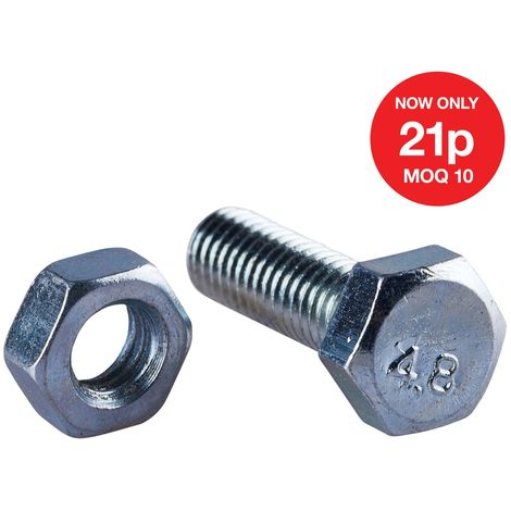 M6 X 20mm Hex Bolt (6PC) WITH M6 NUT (6PC) (4.8)