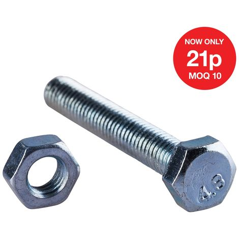M6 X 40mm Hex Bolt (6PC) WITH M6 NUT (6PC) (4.8)