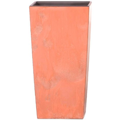 Maceta alta 26,6 L Prosperplast Urbi Square Effect de plástico CON depósito en color Terracota, 50 (alto) x 26,5 (ancho) x 26,5 (profundo) cms