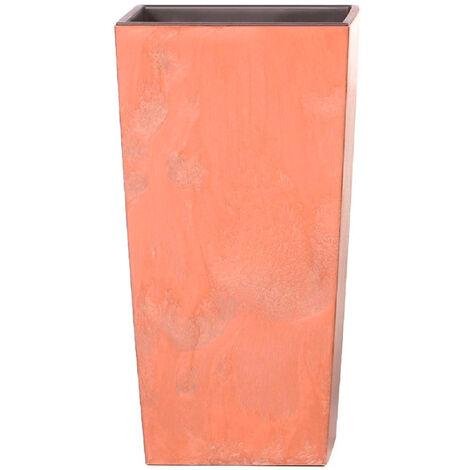 Maceta alta 49 L Prosperplast Urbi Square Effect de plástico CON depósito en color Terracota, 61 (alto) x 32,5 (ancho) x 32,5 (profundo) cms