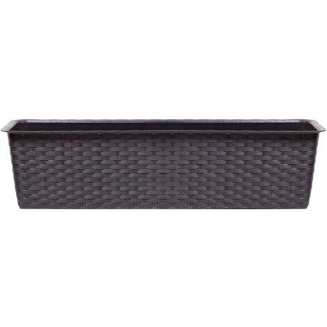 Maceta ancha rectangular, de gran capacidad, 11,7 L Prosperplast Ratolla Case de plástico en color Ocre oscuro, 14,5 (alto) x 68,5 (ancho) x 17,3 (profundo) cms