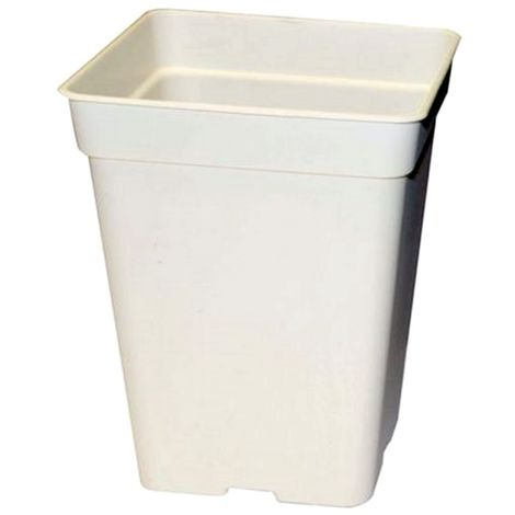 Maceta Blanca Cuadrada Alta. Plástico Duro. 27,5 X 23 Cm. 11 L