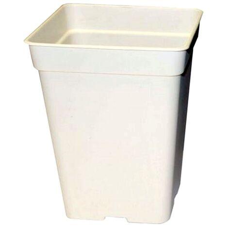 Maceta Blanca Grande Cuadrada Alta. Plástico Duro. 40 X 27 Cm. 18 L