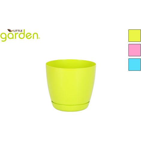 Maceta C/plato 14cm Little Garden - 3 Colores Surtidos