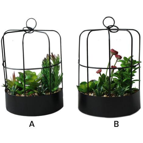 Maceta colgante en forma de media jaula con flores artificiales - Romántico - Hogar y más B
