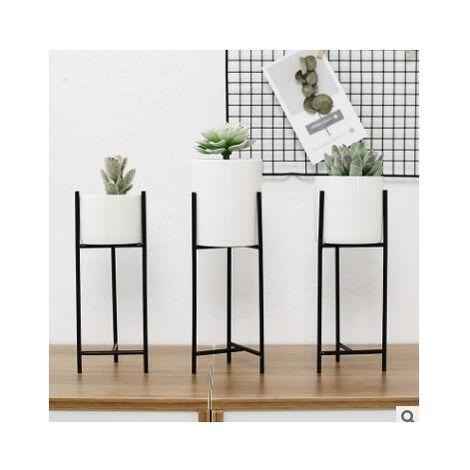 Maceta de cerámica + Rejilla de metal negro Maceta de flores suculentas Macetero Decoración para el hogar 22 y veces; 8 cm LAVENTE