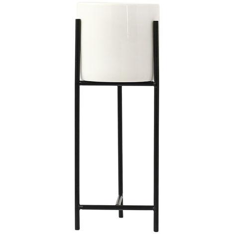 Maceta de cerámica + Rejilla de metal negro Maceta suculenta Maceta Decoración para el hogar 22 × 8 cm