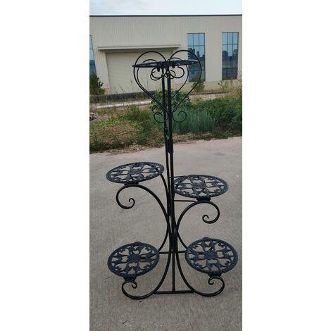 Maceta de metal de 5 niveles, soporte para estantes de flores, jardín, interior, exterior (blanco, tipo B)