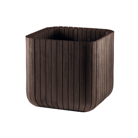 Maceta de plástico/madera marrón Keter