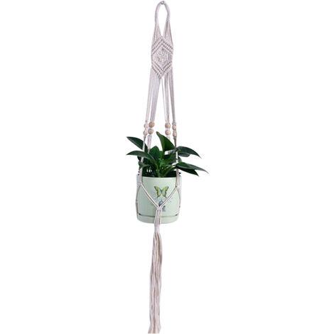 Maceta decorativa de la suspension de la planta del macrame, cuerda del algodon de la cesta de la maceta colgante