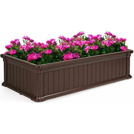 Maceta Elevada Cama Elevada Jardinera para Flores Plantas Vegetales Maceta de Rectangular para Jardín Patio Balcón (Marrón)