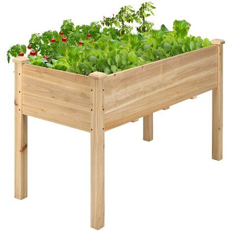 Maceta Elevada de Madera Jardinera de Suelo Elevada Cama para Flores Plantas Cultivo para Jardín Exterior Balcón 123x57x76cm