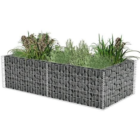 Jardinera de gaviones de acero 180x90x50 cm