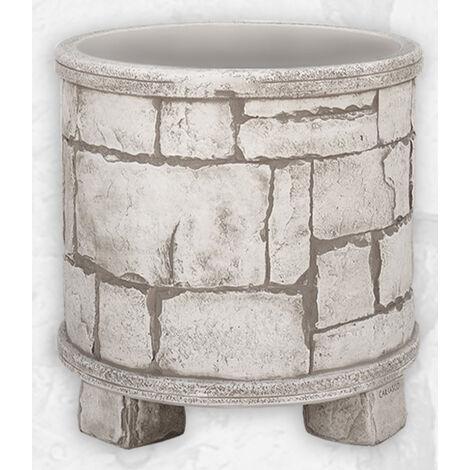 MACETA hormigón-piedra CILINDRO RÚSTICA 47x40cm. Disponible en varios colores.