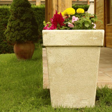 Maceta Jardinera tiesto cuadrado Liso exterior de hormigón-piedra 26x26x40cm.