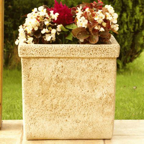 Maceta Jardinera tiesto cuadrado Liso exterior de hormigón-piedra 40x40x40cm.