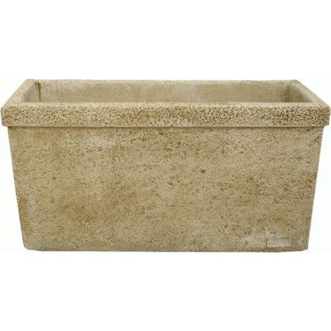 Maceta Jardinera tiesto cuadrado Liso exterior de hormigón-piedra 75x30x37cm.
