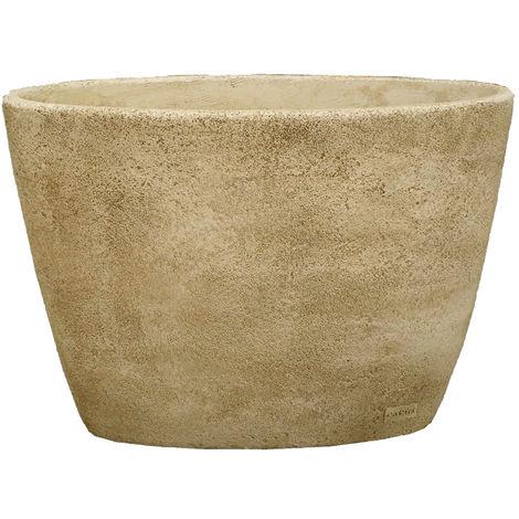 Maceta Jardinera tiesto Oval Liso exterior de hormigón-piedra 75x40x55cm.