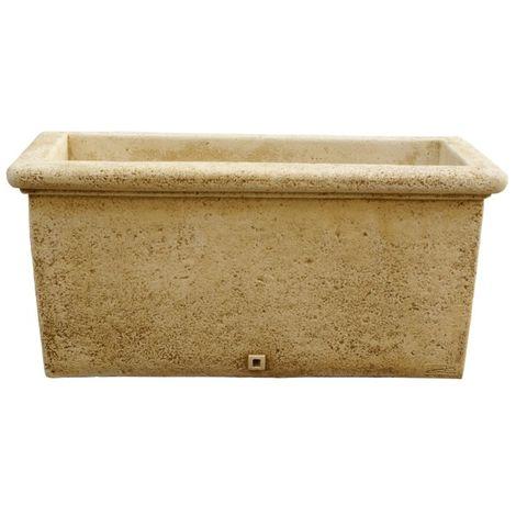 Maceta Jardinera tiesto rectangular Liso exterior de hormigón-piedra 74x33x36cm.
