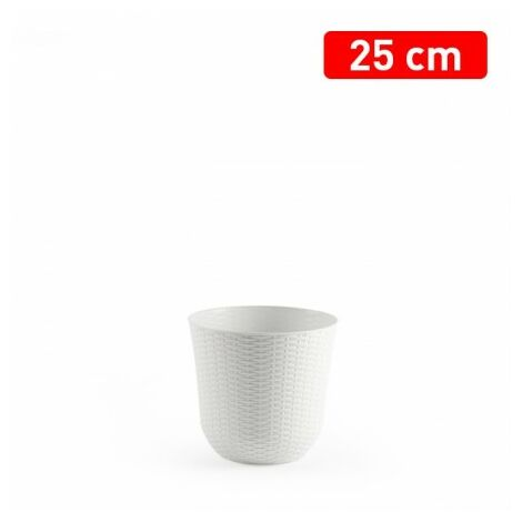 Maceta Rattan Redonda 25 Cm. Blanca