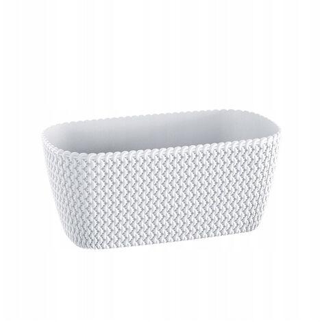 Maceta rectangular 7,4L Prosperplast Splofy de plastico en color blanco, 39,7 (largo) x 18 (ancho) x 14,5 (alto) cms