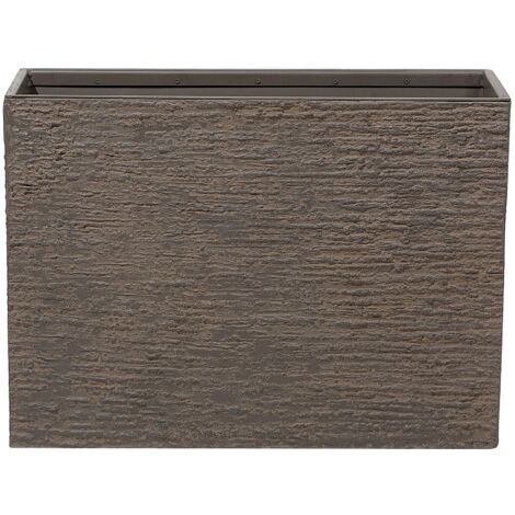 Maceta rectangular marrón oscuro 29x70x50 cm EDESSA
