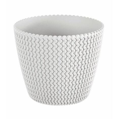 Maceta redonda 5L Prosperplast Splofy de plastico en color blanco, Ø21,8 x 18,4 cm