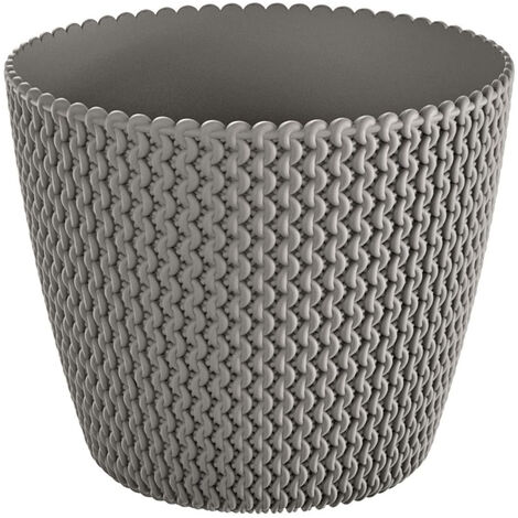 Maceta redonda 5L Prosperplast Splofy de plastico en color gris, Ø21,8 x 18,4 cm