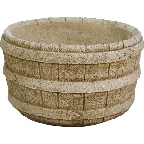Maceta tiesto Jardinera Barril jardín exterior de hormigón-piedra 30x20cm.