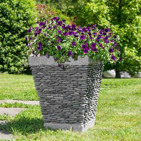 Maceta tiesto jardinera cuadrada piedra 50 cm jardín exterior zen