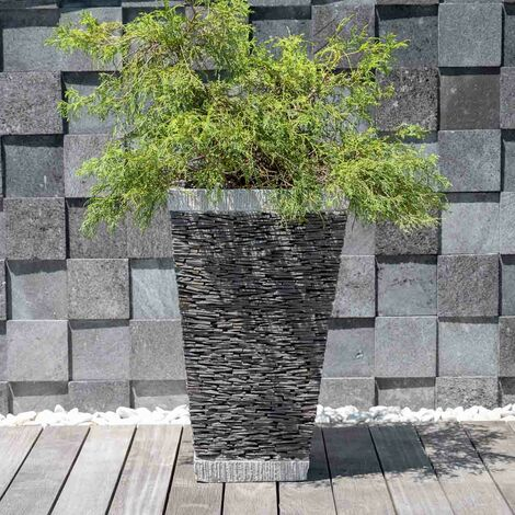 Maceta tiesto jardinera cuadrada pizarra 80cm piedra natural