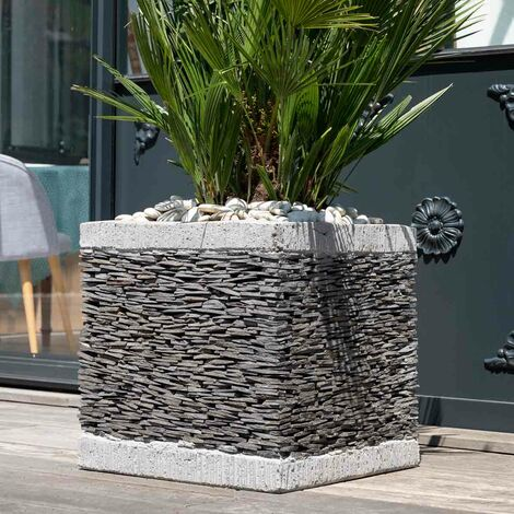 Maceta tiesto jardinera cubo pizarra 50 cm jardín terraza piedra natural