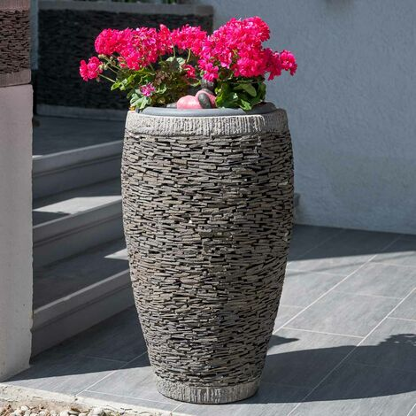 Maceta tiesto jardinera ovalada pizarra 80 cm jardín piedra natural