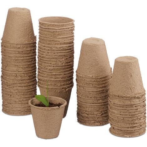 Macetas biodegradables, Maceteros ecológicos, Redondos, Celulosa, 7 cm, 80 Uds., Beige