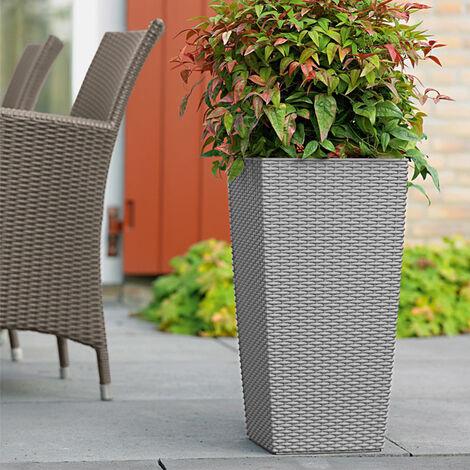 Macetas para plantas o flores de Plástico para jardín terraza patio balcón Gris