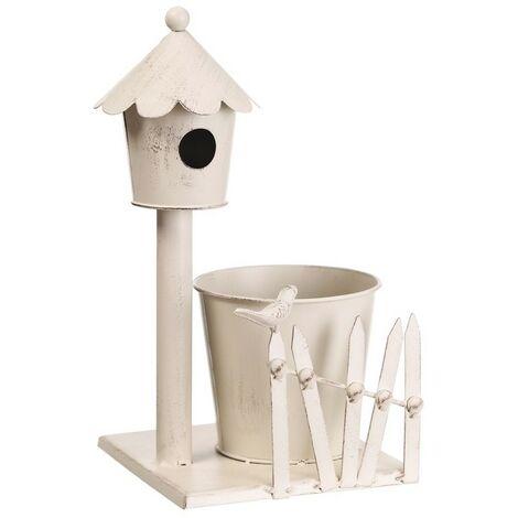 Macetero Alto de Metal, Diseño Casa Pájaros. Color Blanco (12x12x32 cm)