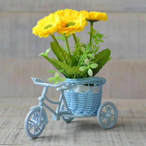 Macetero Bici Azul y Planta Artificial Dos Modelos Hogar y Más Amarillo