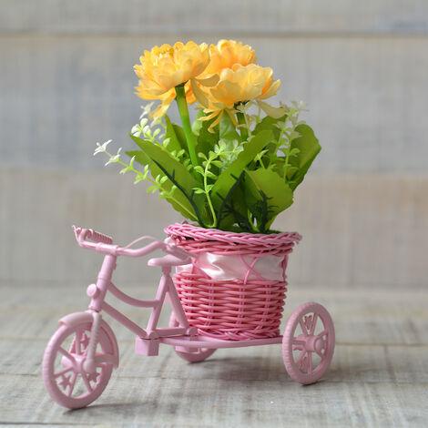 Macetero Bici Rosa y Planta Artifical Tres Modelos Hogar y Más Amarillo