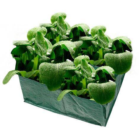 Macetero, bolsas de cultivo cuadradas, grandes bolsas de cultivo de jardin para camas de plantacion, con 4 compartimentos