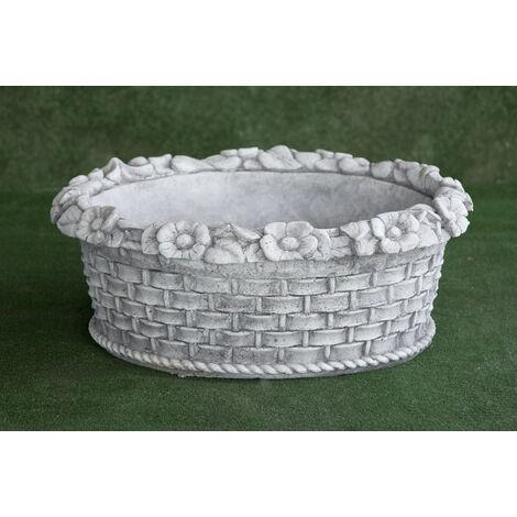 Macetero clásica de hormigón-piedra Mod. Cesta Mimbre 63x26cm.