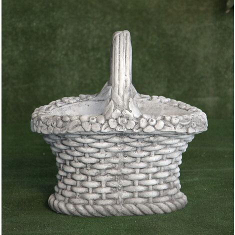 Macetero clásica de hormigón-piedra Mod. Cesta Mimbre Flores 40x30x41cm.