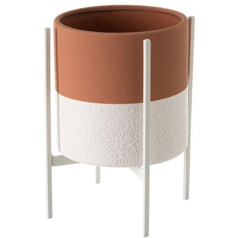 Macetero con pie de metal grande de cerámica terracota rústico, de ø 17x22 cm