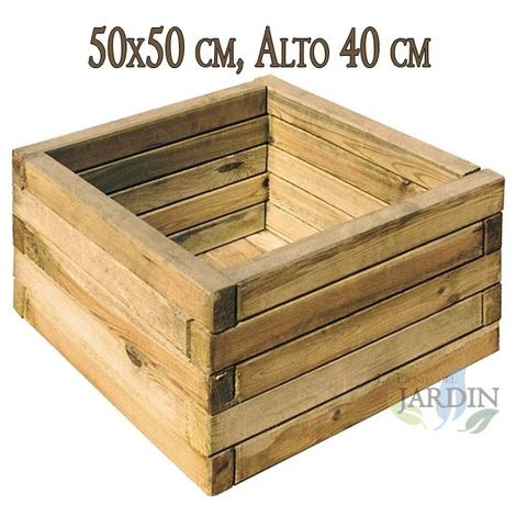 Macetero cuadrado de madera 50x50 cm, alto 40 cm