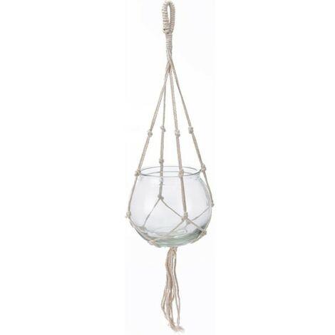 Macetero cuerda blanca vidrio