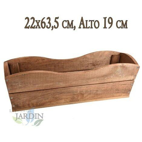 Macetero de madera 22x63 cm, alto 19 cm