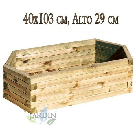 Macetero de madera 40x103 cm, alto 29 cm