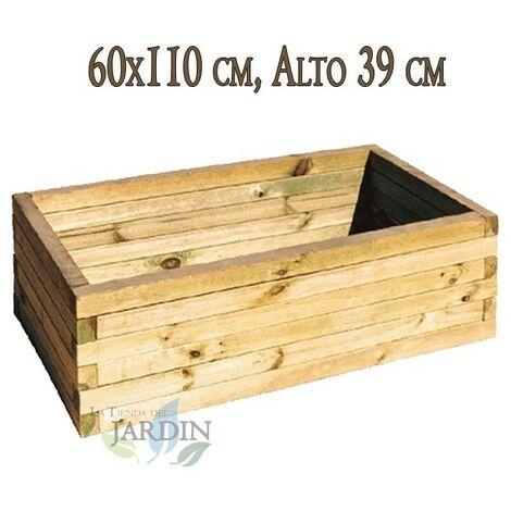 Macetero de madera 60x110 cm, alto 39 cm